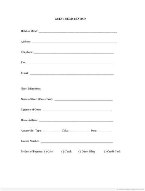 sle printable guest registration form printable real