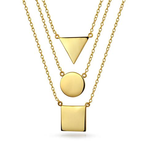 gold for jewelry gold plated 925 sterling silver geometric layered necklace set
