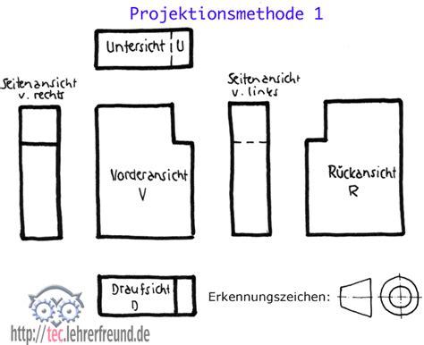 Technische Zeichnung Ansichten by Parallelprojektion Nach Din Iso 128 30 Tec Lehrerfreund