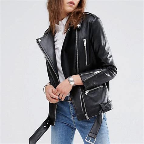 Get Bilsons Hanii Y Jacket From Net A Porter by Asos Premium Longline Leather Biker Jacket Blingby