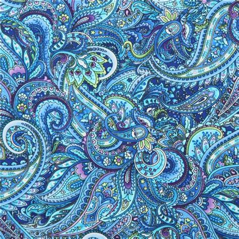 Blue Paisley blauer paisley muster stoff timeless treasures packed