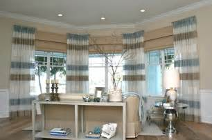 Window Treatments For A Bow Window living room beach style living room denver by