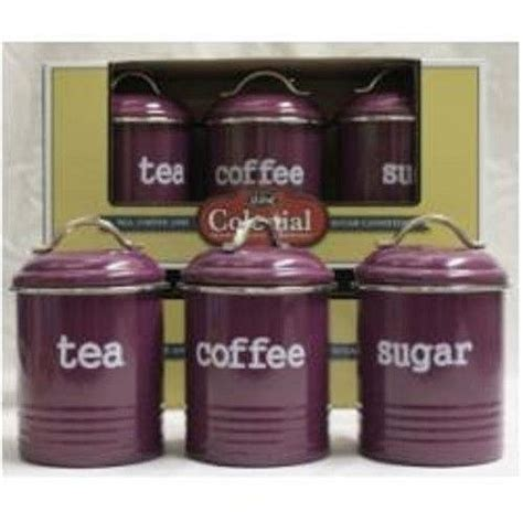 enamel retro kitchen canisters assorted colours tea coffee sugar set of 3 new ebay
