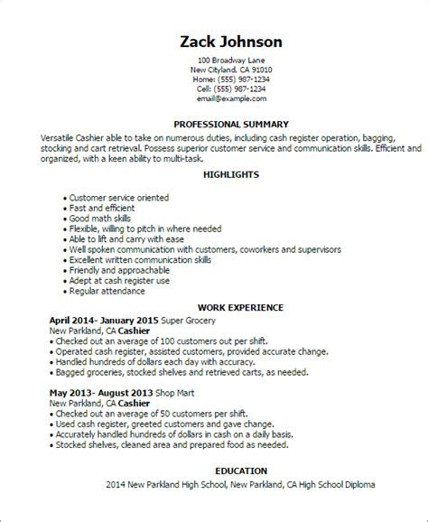 Exle Resume For Cashier Objectives Cashier Resume Deko 2015