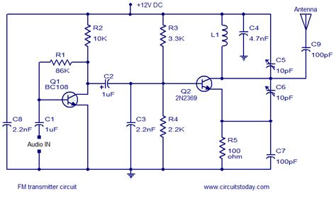 trimmer capacitor proteus simple fm transmitter circuit based on two transistors
