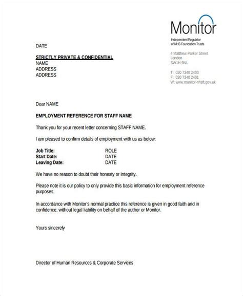 hr reference letter templates word format