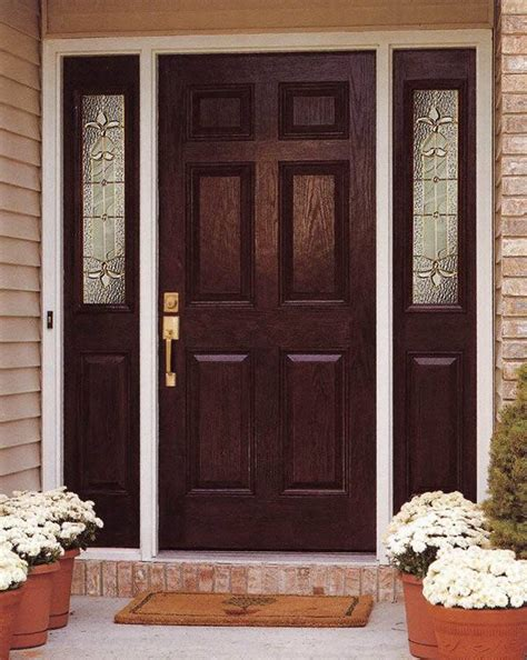 Exterior Door With Sidelights Entry Prehung 6 Panel Textured Fiberglass Door With 2 Sidelights