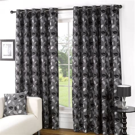 Curtains At Allen Lined Eyelet Curtains Black