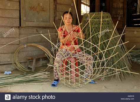 cottage industry split bamboo baskets in roadside cottage industry lam dong
