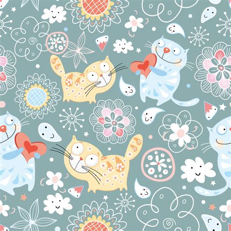 pattern cute illustrator cute cat illustrator vector material free license