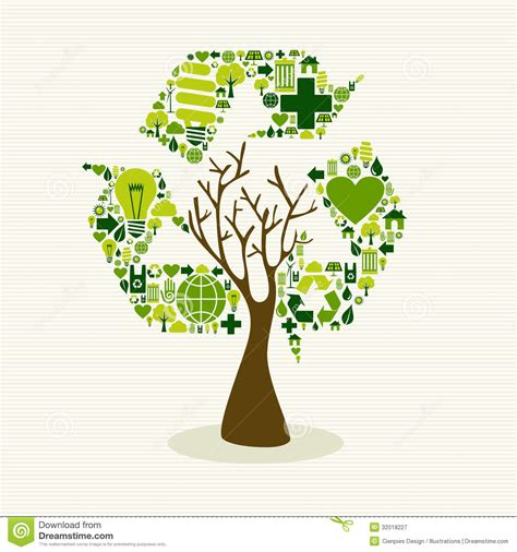Great Green Idea Save Our Trees by Green Recycle Symbol Concept Tree Royalty Free Stock