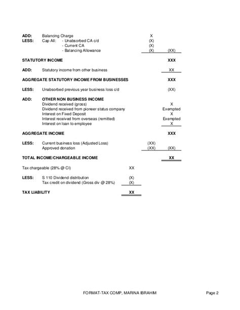 excel format of income tax computation company tax computation format