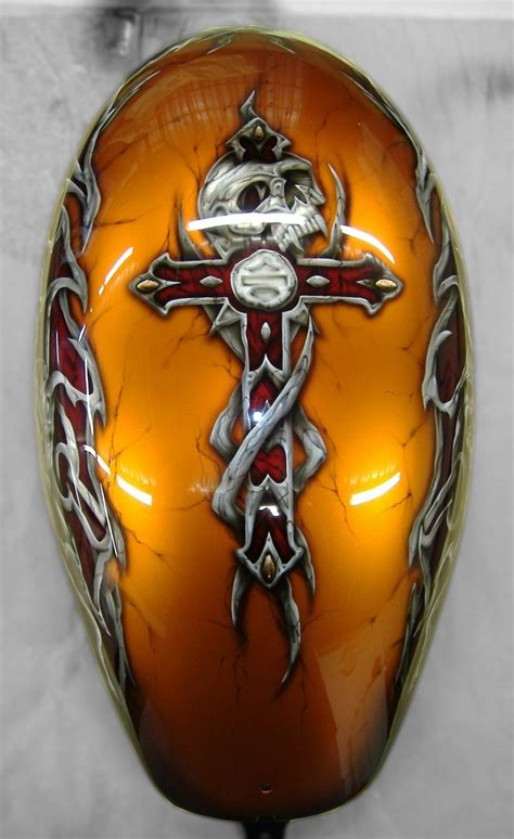 orange base with a custom by krs bikes design and blue