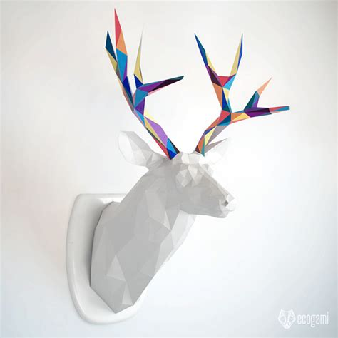 Papercraft Deer - papercraft deer trophy diy wall mount by ecogamishop on
