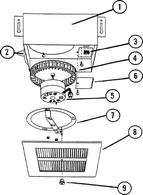 nutone ceiling fan parts nutone m682 exhaust fan parts