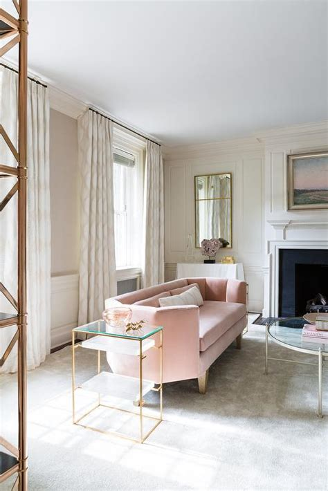 gold sofa living room gold and pink living room with brass etagere