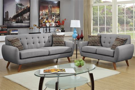 grey sofa and loveseat sets poundex cosmo f6912 grey fabric sofa and loveseat set