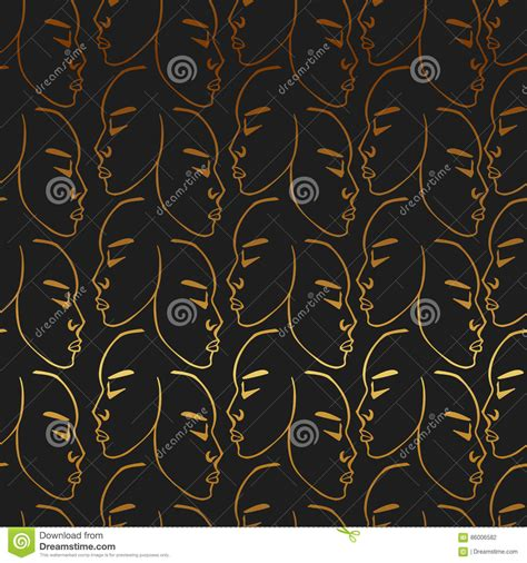 gold pattern holdings gold hand drawn faces pattern on black background vector