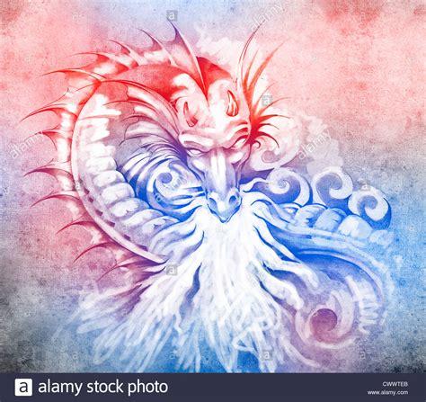 medieval dragon backpiece tattoo white tribal stock photos tribal
