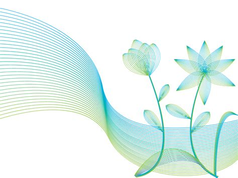 line flowers with wind lines ppt backgrounds abstract