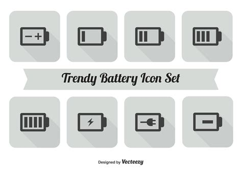 battery icon set   vector art stock