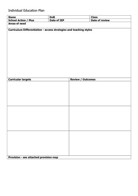 individual service plan template individual learning plan template success chainimage