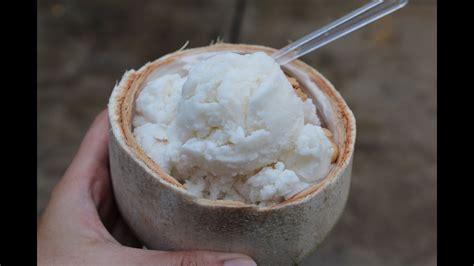 cara membuat es cream kelapa makan coconut ice cream es krim kelapa bangkok