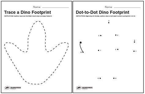 Dinosaur Worksheets by Dinosaur Footprint Tracing And Dot To Dot Worksheets