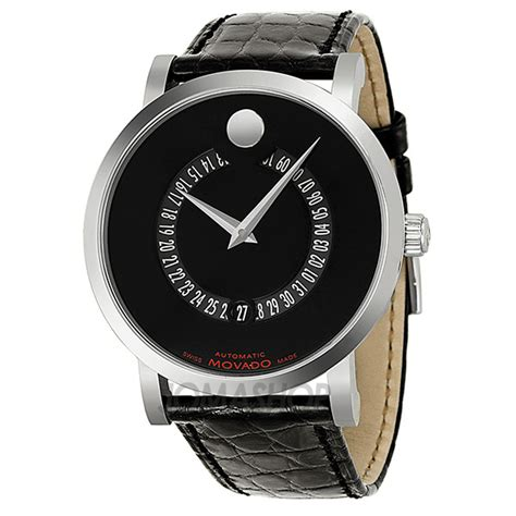 movado label automatic animated date black mens