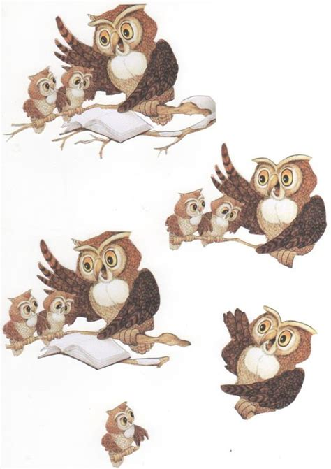 Owl Decoupage - owls hiboux 3d decoupage knipvellen