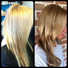 shooing after balayage before and after grown out foiled blonde highlights to