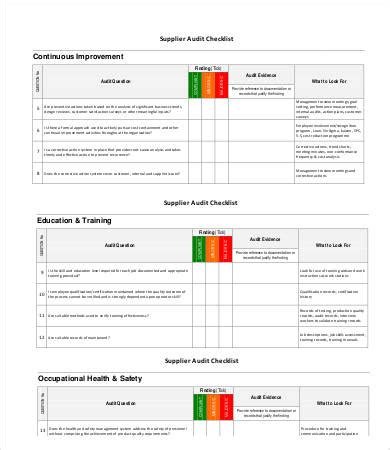 supplier audit schedule template 14 audit checklist templates free sle exle