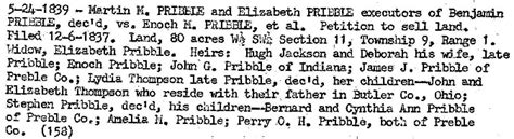 Preble County Court Records Benjamin Pribble And Lucretia Marshall