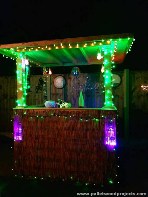 Outdoor Bar Lights Recycled Pallet Bars With Lights Pallet Wood Projects