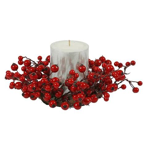 candle ring snow red berries vickerman 19746 candle ring