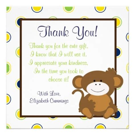 baby saying thank you monkey baby shower invite - Thank You Phrases For Baby Shower