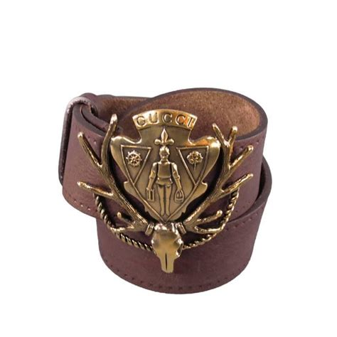 gucci brown leather gold elk skull suit of armor coat of