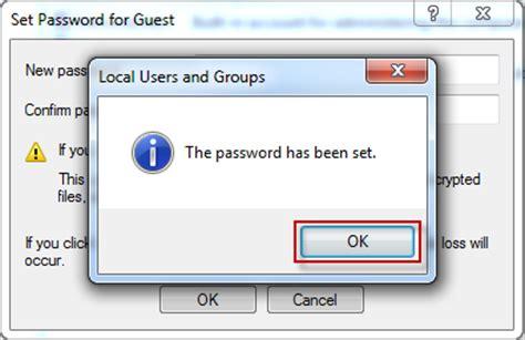 windows 7 password reset guest account how to set or change password for guest account in windows