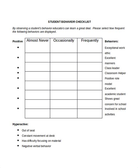 behaviour checklist template student checklist template 7 free word excel pdf