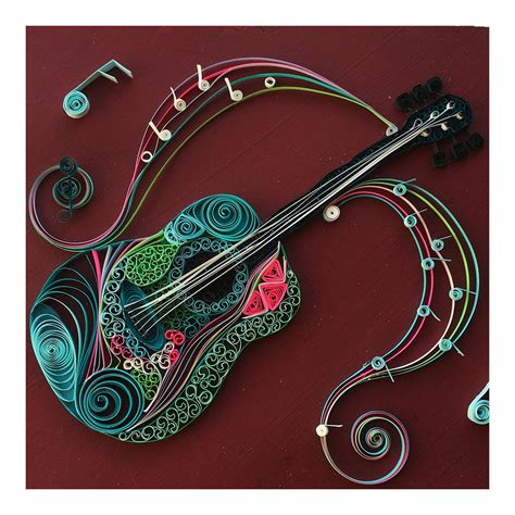 Great Bathroom Designs by Musical Guitar Mosaic Quilled Art Design