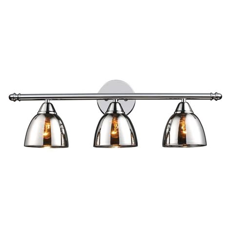 Chrome Vanity Lighting by Titan Lighting Reflections 3 Light Black Chrome Vanity