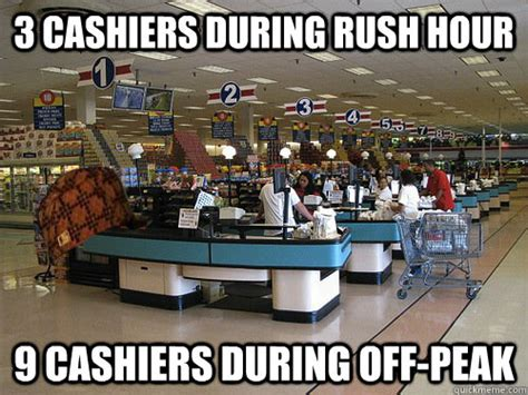 Meme Store - 3 cashiers during rush hour 9 cashiers during off peak