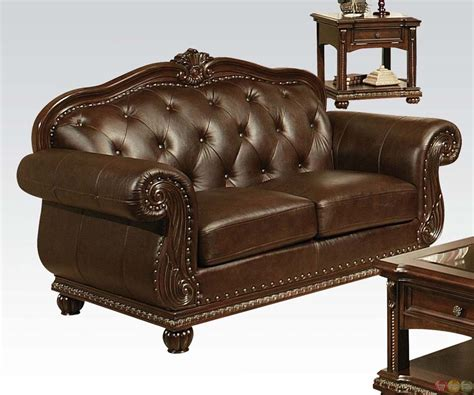 leather button couch anondale brown button tuft leather upholstery sofa set