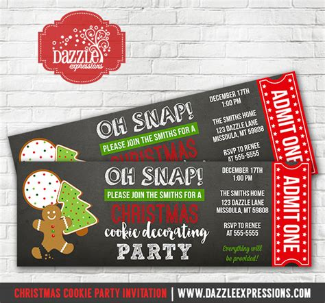 printable tickets for christmas party printable christmas cookie decorating party ticket