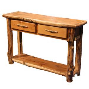 furniture sofa tables aspen log furniture aspen 2 drawer sofa table with shelf