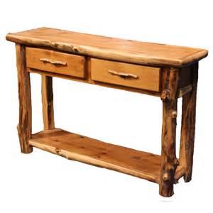 Aspen log furniture aspen 2 drawer sofa table with shelf