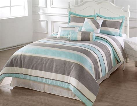 aqua and grey bedding bachelor 7pc comforter set aqua blue beige grey stripes