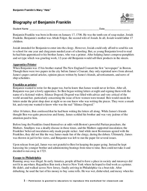 benjamin franklin biography worksheet benjamin franklin s biography