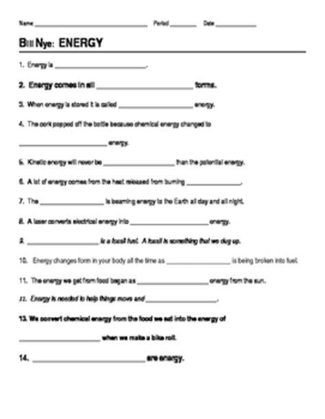 Kinetic And Potential Energy Worksheet Pdf by Bill Nye Energy Guide Sheet Bill Nye Heat Energy