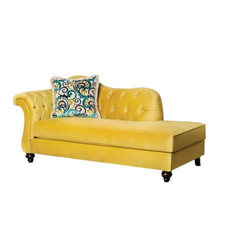 yellow chaise lounge furniture of america dupre tufted velvet chaise lounge in